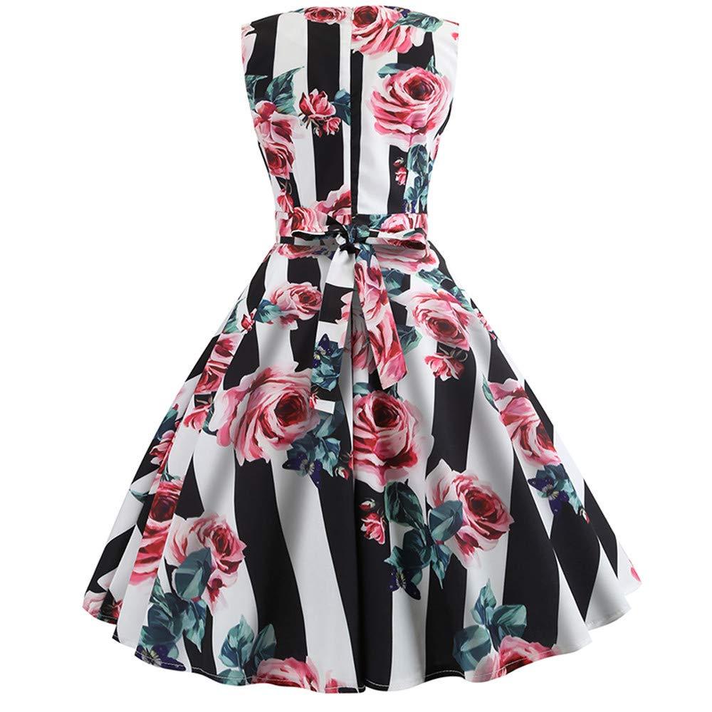 Serzul Women A Line Vintage Dresses Audrey Hepburn Style Floral Party Dress Sleeveless O-Neck Printing Dress