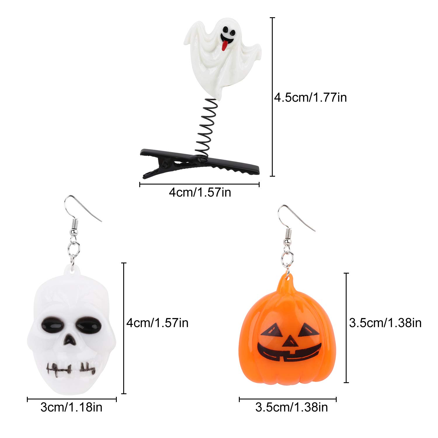 LED Light Up Earrings Hair Clips,Aniwon2 Pairs Glowing Halloween Flashing Skull Pumpkin Ear Drop Pendant With 4pcs Bright Stylish Fashion Hair Barrettes Pumpkin Bat Ghost mummy Hairpins for Halloween
