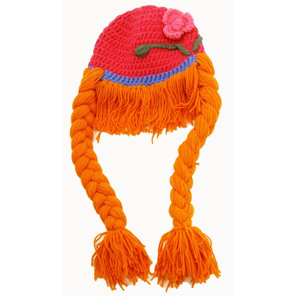 Little Girls Red Orange Princess Crochet Braids Hat 2-4 Years