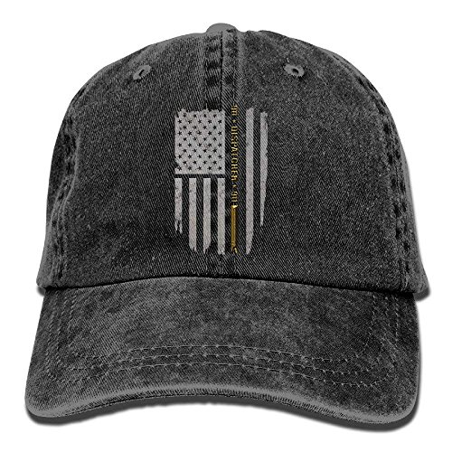 si fang Adult 911 Dispatcher Thin Gold Line Washed Denim Baseball Hat ()