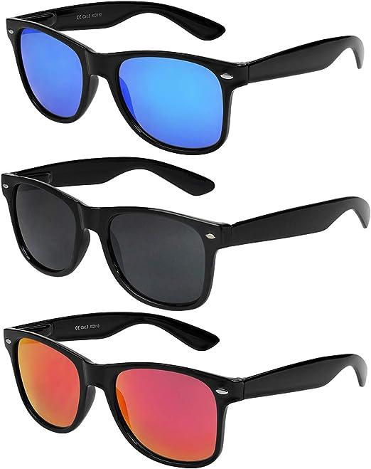$$$      SONNENBRILLE Retro Nerd Brille Verspiegelt Herren Damen  Brillen
