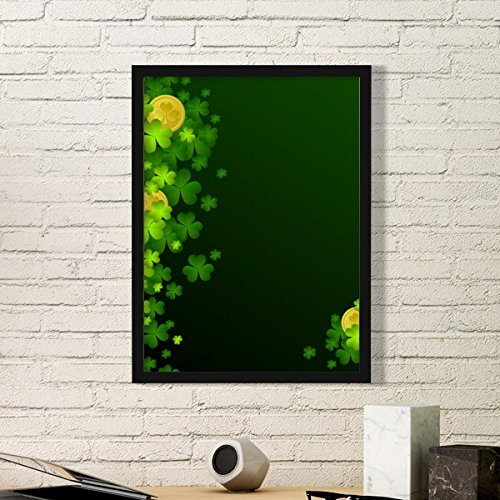 Four Leaf Clover Gold Ireland St.Patrick's Day Simple Picture Frame Art Prints of Paintings Home Wall Decal