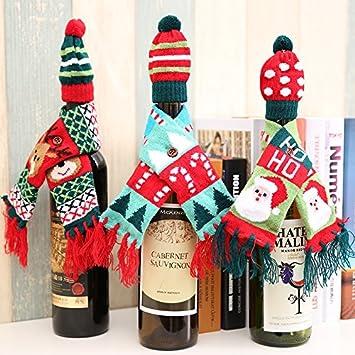 Christmas Wine Bottle Cover Decoration Mini Hat   Scarf Set Christmas Knit  Wine Cover Santa 086c59525d4