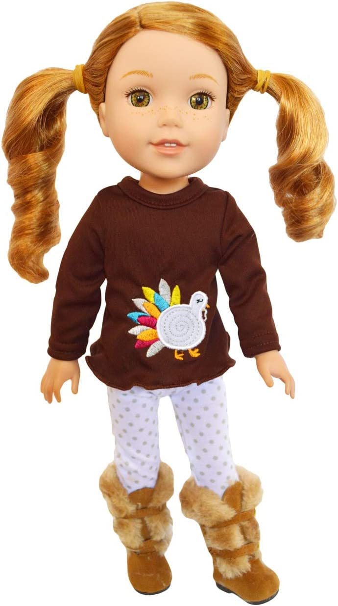 Pumpkin Denim Outfit for Wellie Wisher Dolls 14.5 Inch Doll Clothes Glitter Girl