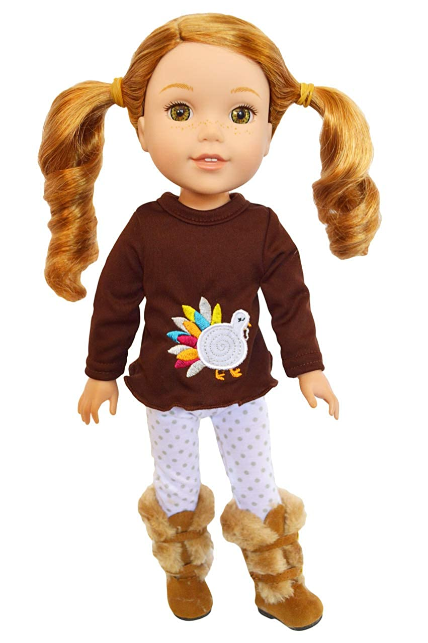 Brittany's Happy Thanksgiving Day Outfit Wellie Wisher Dolls Glitter Girl Dolls- 14 Inch Doll Clothes Brittany's