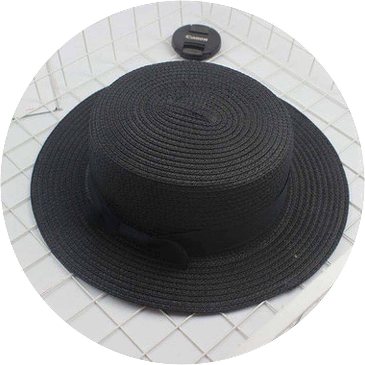 Parent-Child Sun hat Cute Sun Hats Bow Women Straw Cap Beach Big Brim hat,3,Adult Size 56-58cm