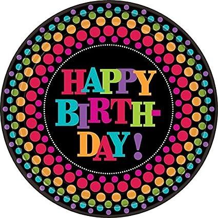 Amazon com: Party On Happy Birthday Polka Dot Round Lunch