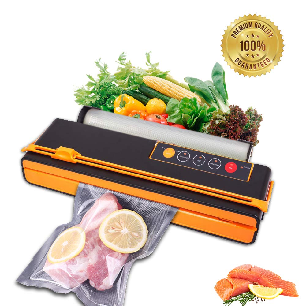 Vacuum Sealer Food Saver machine Fruits Meat Fish Coffee Wine Containers Preservation Sealer Vacuum Packing Machine Uparade Own Cutting Knife Bag Slot Multi-Function Vacuum Food Machine One Roll of Bags Orange