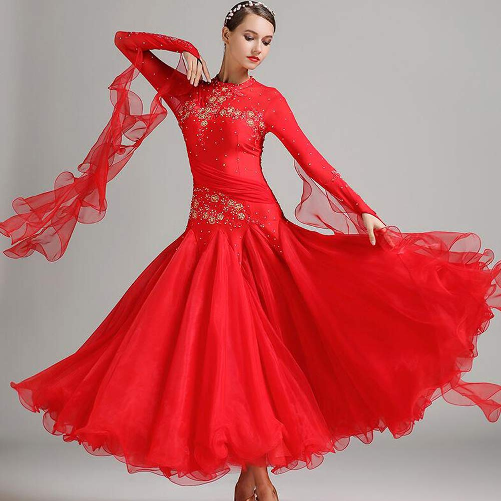 Red L XIAOY Women Belly Dance Clothing Dancing Costume Rhinestone Performance Dress Outfit Suit Waltz Modern Skirt Ballroom Big Swing Practice 2XL