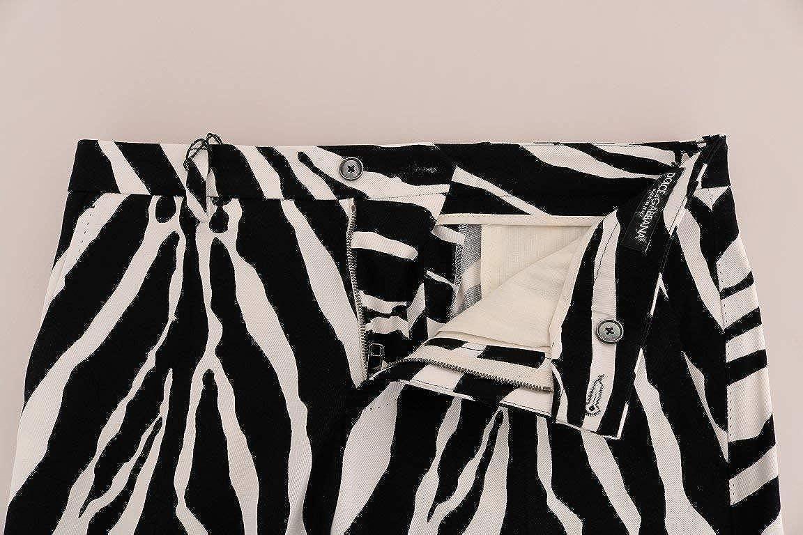 Dolce /& Gabbana White Black Zebra Cotton Stretch Slim Pants