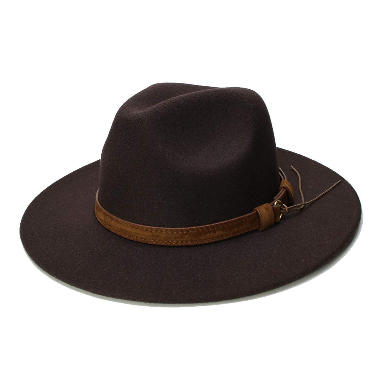 DOSOMI Retro Child 100/% Wool Wide Brim Cap Fedora Panama Jazz Bowler Hat Leather Band 54cm//Adjusted