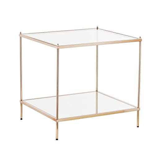 Knox End Table – Metallic Gold Metal Frame w Glass Tops – Glam Style D cor