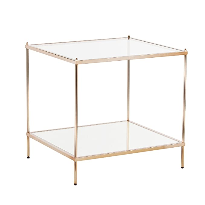 Knox End Table   Metallic Gold Metal Frame W/ Glass Tops   Glam Style Décor by Southern Enterprises