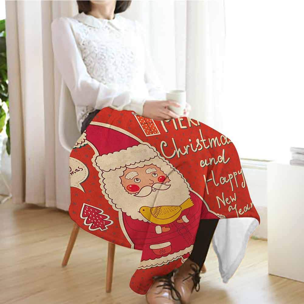 Christmas Pattern Blanket,Happy New Year Retro Illustration with Cute Santa Claus Holding Yellow Bird Blanket for Sofa Couch TV Bed All Season,50'' Wx70 L Ivory Orange by Custom&blanket (Image #3)