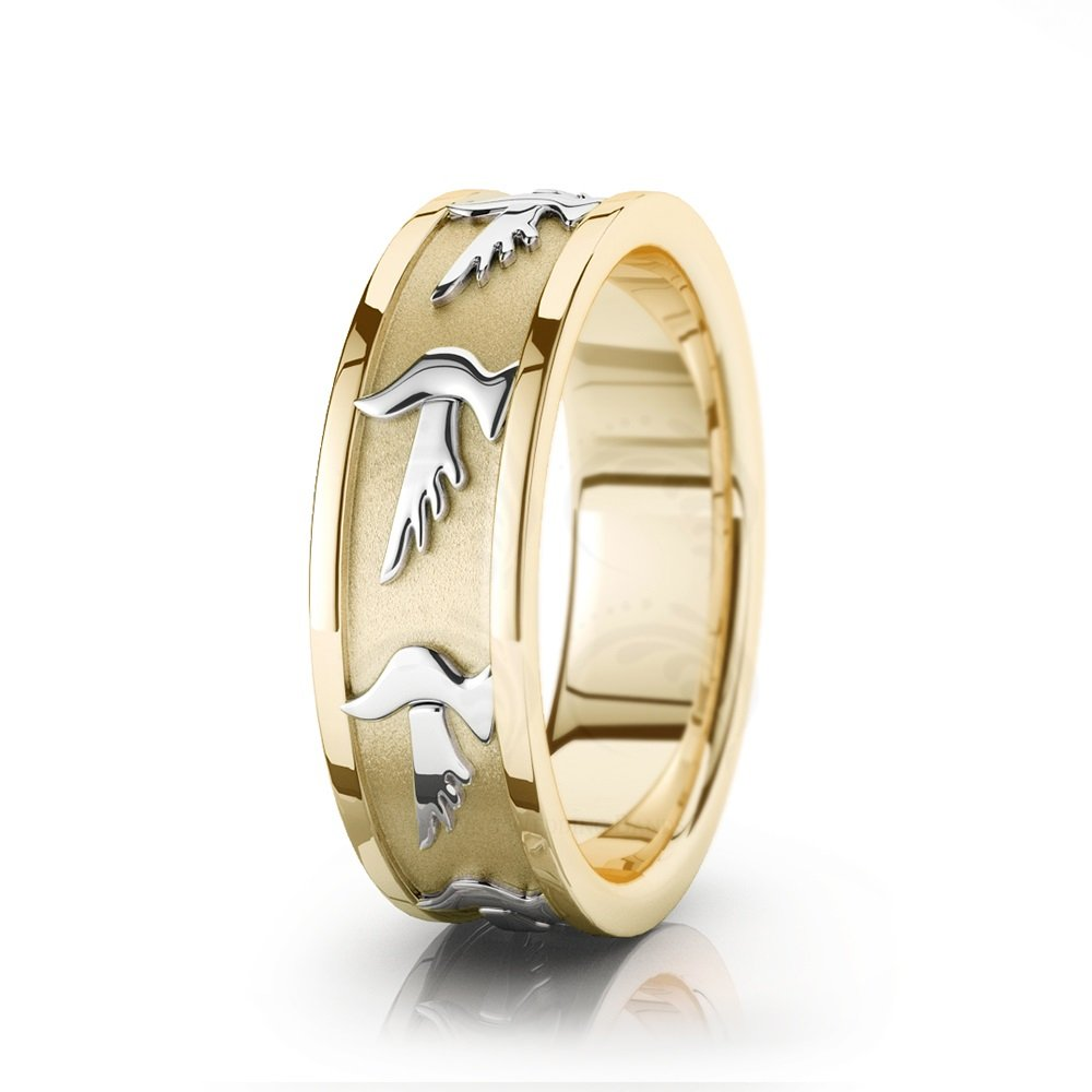 14k White And Yellow Gold Dove Motif Religious Wedding Ring 7 mm