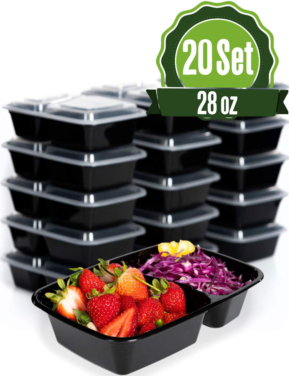 Meal Prep Food Storage Containers with Lids, 2 Compartment 28 oz (20 Set) - BPA Free, Lunch Portion Control, Dishwasher, Freezer Safe, Microwavable, Reusable or Disposable Plastic Bento boxes