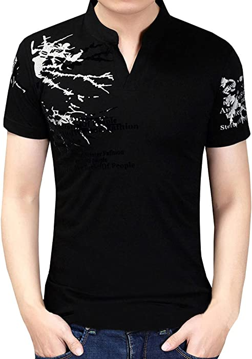 97646a97edad Mens Casual Slim Fit Short Sleeve Polo T-Shirts Graphic Floral Printed Tee  Tops at Amazon Men s Clothing store