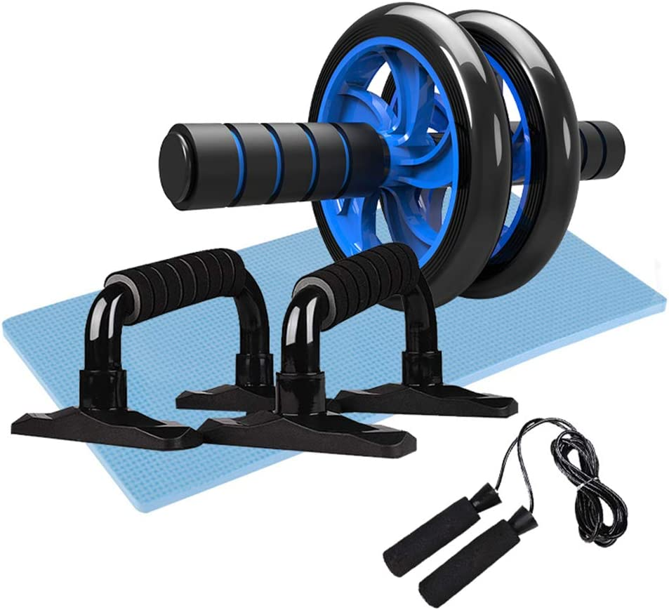Lixada 5-in-1 AB Wheel Roller Kit Abdominal Press Wheel with Push-UP Bar Jump Rope and Knee Pad Portable Equipment for Home Gym Workout Exercise Muscle Strength Fitness(Optional)