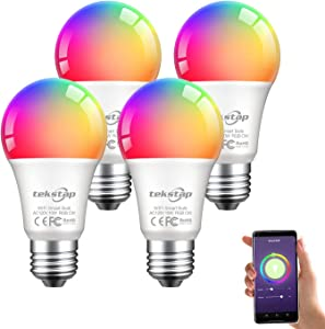 Tekstap Smart Color Changing Light Bulb LED WiFi Bulbs RGB Multicolor 2200K-6500K, 1000LM 10W E26 A19 2.4GHz only Compatible with Alexa Echo Google Home & Siri No Hub Required for Party Home (4 Packs)