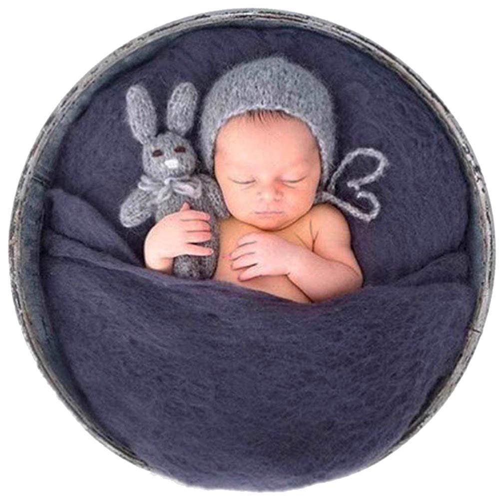Sunmig Newborn Baby Wool Fluff Photo Props Merino Basket Stuffer Basket Filler Rug Photography Prop Grey