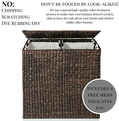 Designer Wicker Laundry Hamper With Divided Interior And Import It All