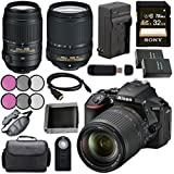 Nikon D5600 DSLR Camera with 18-140mm Lens (Black) 1577 + Nikon 55-300mm f/4.5-5.6G ED VR Lens + Lithium Ion Battery + Charger + Sony 32GB SDHC Card + Mini HDMI Cable + Remote + Card Reader Bundle