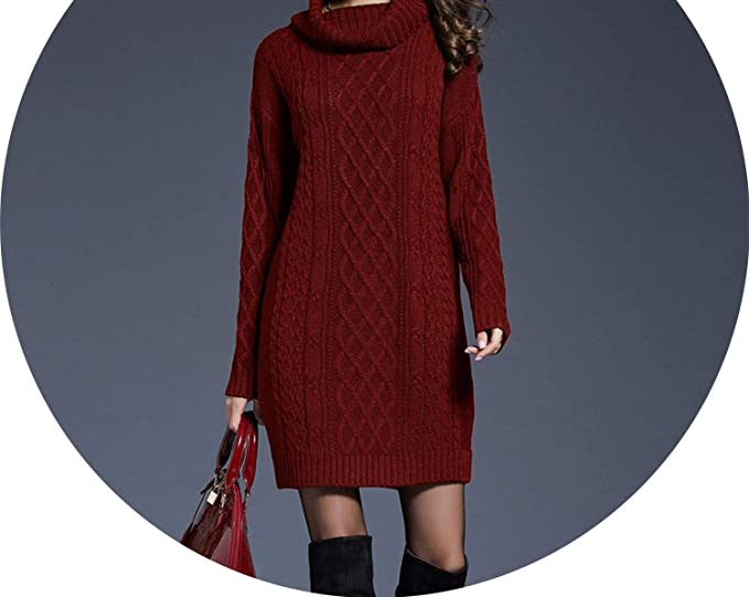 13d97b4b265 Image Unavailable. Image not available for. Colour  Women Turtleneck Thick Sweater  Dresses Plus Size Casual Sexy Knitted Cotton Winter Dress