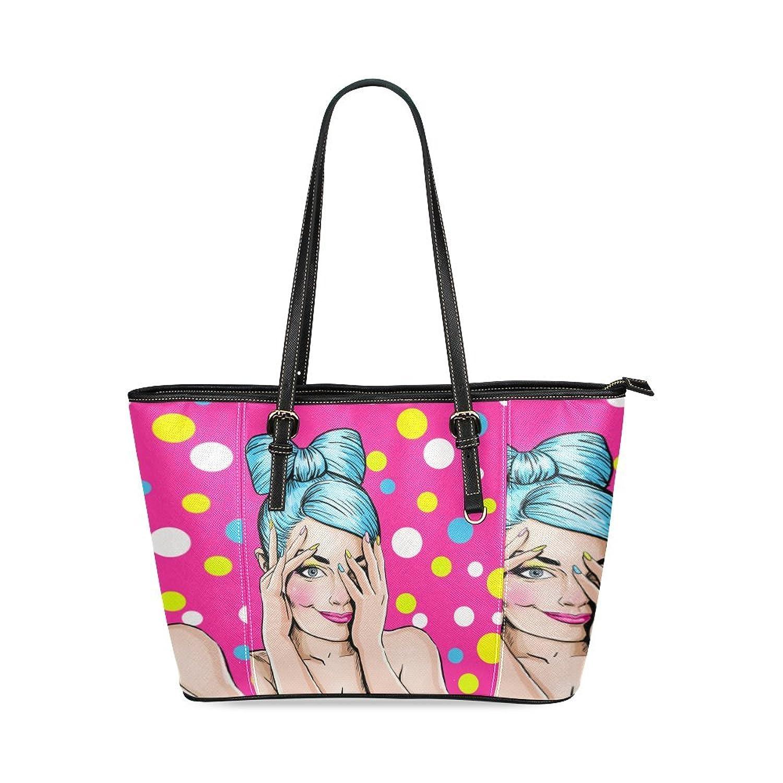 SLsenD Women's Comic Romantic Girl Flirting Leather Tote Bag Shoulder Bags