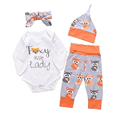 523d6ef516b0c Baby Clothes, Girls Cute Fox Print Romper + Pants HatHeadbands for 0-2 Years