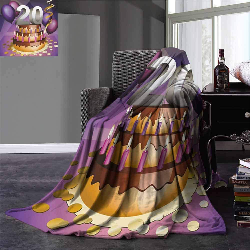 20th Birthday Warm Blanket Cartoon Style Illustraion of a Birthday Cake Chocolate Frosting and Candles Super Soft Plush Blanket Twin Size Multicolor 60x70 Inch