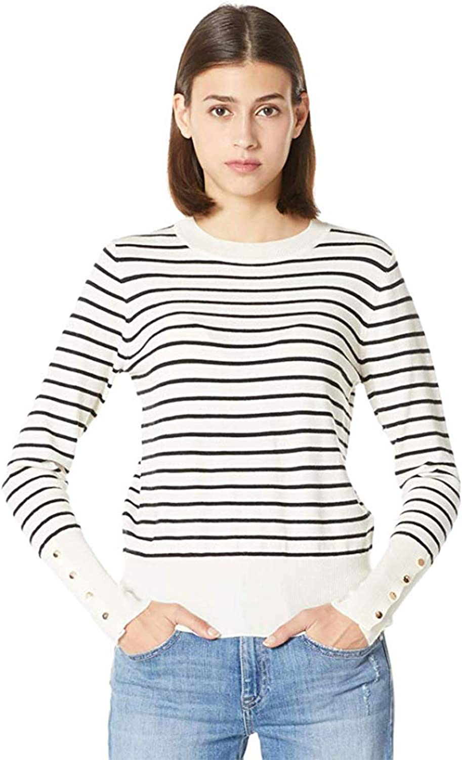 PLUMBERRY Women's Casual Long Sleeve Striped Tops Lightweight Pullover Boxy Knit Crewneck Solid Color Sweater (Small, White Bottom Black Strip)