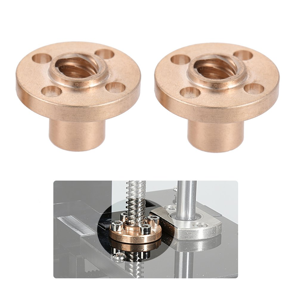 KKmoon 2pcs 8mm Brass Flange Trapezoidal T Lead Screw Nut for RepRap i3 3D Printer Z Axis AZ-456