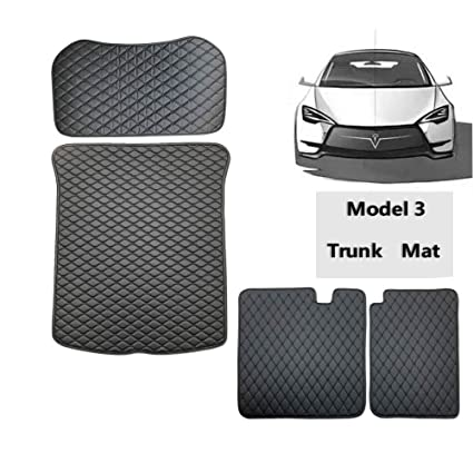 EVFIT Model 3 Floor Mats Set-All Weather Trunk Mat Front and Back Seat 2nd  Row Sets Mats Compatible Tesla Model 3 (4PS Black)