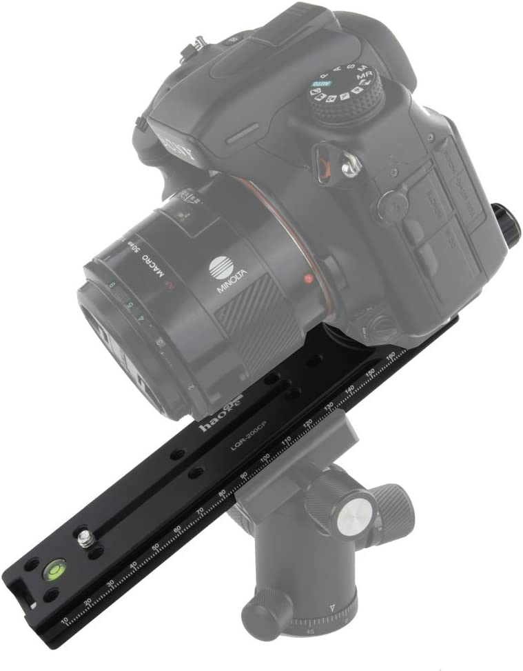 Haoge 200mm Nodal Slide Double Dovetail Focusing Rail Plate with Metal Quick Release Clamp and 60mm Plate for Camera Panoramic Panorama Close Up Macro Shoot fit Arca Swiss RRS Benro Kirk
