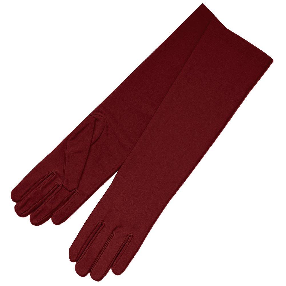 ZaZa Bridal 4-Way Stretch Matte Finish Satin Dress Gloves Below-The-Elbow Length-Burgundy