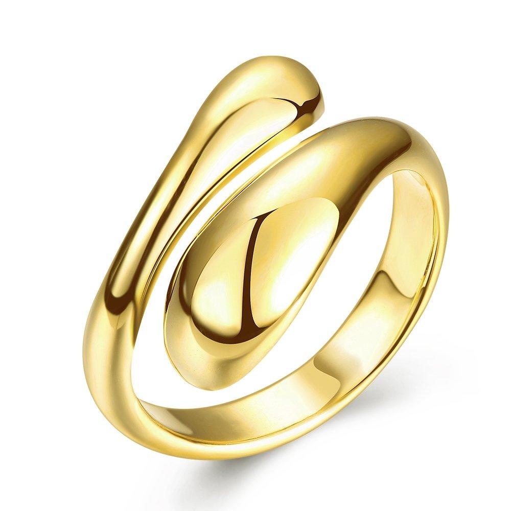 Yazilind Bijoux Brillants Conception Simple Ouverture Or réglable en Or plaqué pour Le Couple