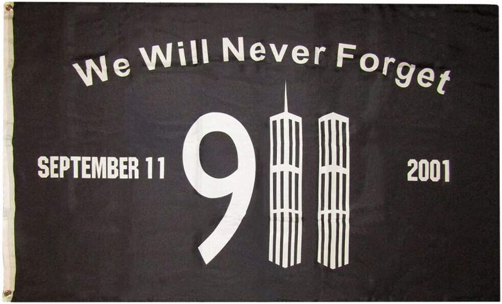 3x5 We Will Never Forget 911 Memorial Black 3/'x5/' Rough Tex 100D Oxford Poly