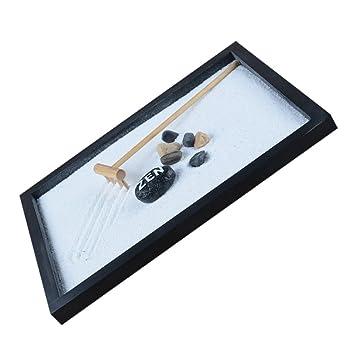 MagiDeal Deko Zen Garten Sand Set , Tablett Stein Kiesel Holz Harke Set ,  Haus Tisch