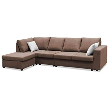 Muebles Baratos Sofá con Chaise Longue, Tres plazas, Tejido ...