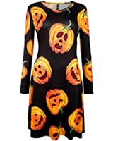 DIOSA Halloween Party Dress Womens Printed Long Sleeve Flared Dress Halloween Swing Dress