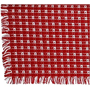 Bon 62 X 90 (Oval) Homespun Tablecloth, Hand Loomed, 100% Cotton, Made In USA,  Red/White
