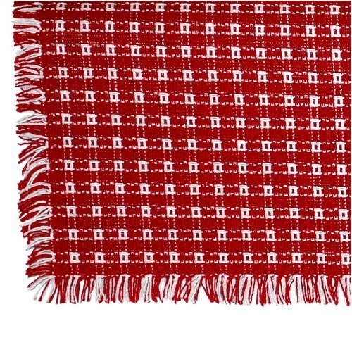 62 x 90 (Oval) Homespun Tablecloth, Hand Loomed, 100% Cotton, Made in USA, Red/White