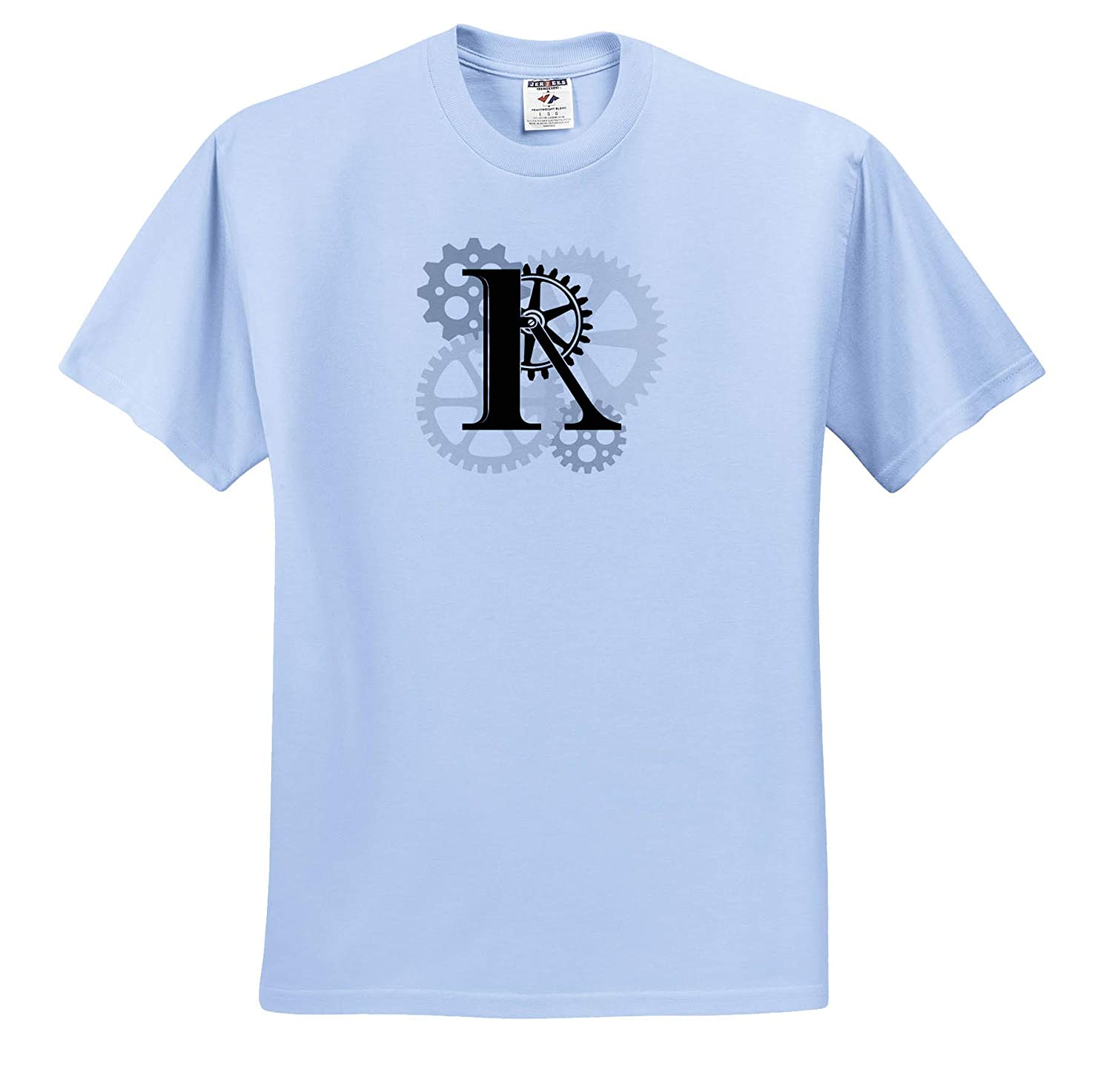 Awesome Black Letter R T-Shirts Grey cogs Mechanics Machinery Monogram Mechanics Gears 3dRose Alexis Design