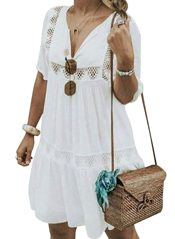 Cindeyar Damen Sommerkleider V-Ausschnitt Strandkleider Einfarbig Kurzarm Casual A-Linie Kleid Boho Kleid