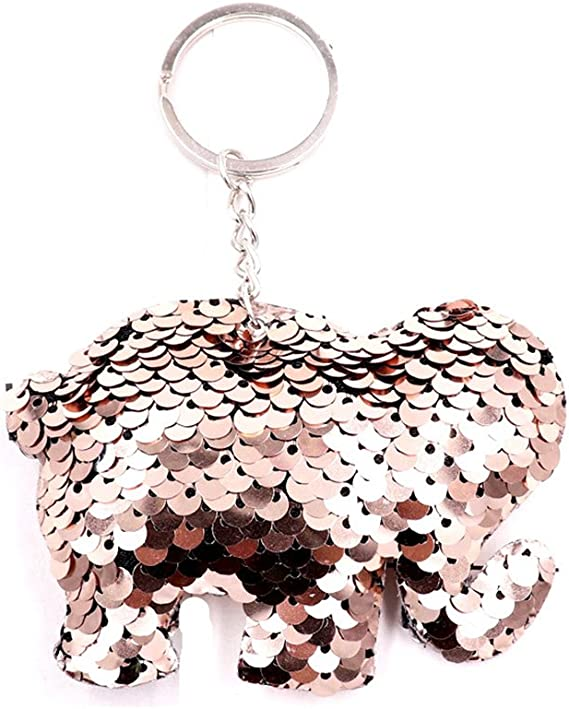 Women Sequin Five-pointed Star Keychain Keyring Car Key Chain Ring Pendant Decor