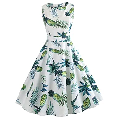 e851aff9266cea Amazon.com: EbuyChX Pineapple Print High Waist Swing Dress White M: Clothing