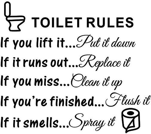 Toilet Rules Bathroom wall sticker DIY