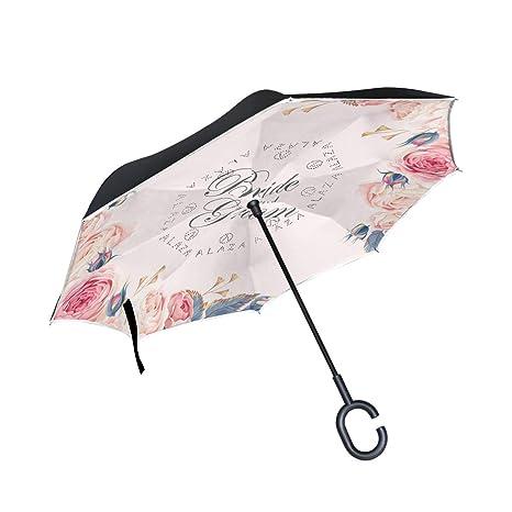 ISAOA - Paraguas Plegable de Doble Capa (protección UV, Resistente ...