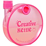 Hokipo Creative Kettle Round Flat Snail Plastic Notebook Water Bottle, 350 Ml (Pink)