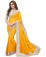 Floral trendz Women's Chiffon Saree With Blouse Piece (Priya Yelow_Yellow)